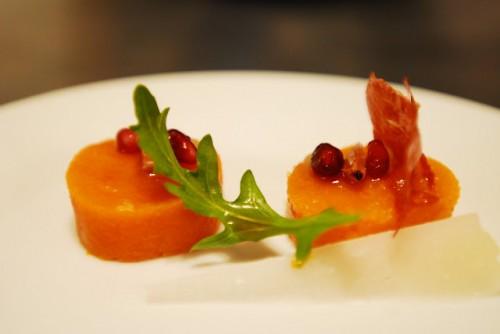 Butternut Squash, Pomegranate Seeds, Prosciutto Chip, Manchego, Sherry Vinegar Gelee, Olive Puree, Arugula